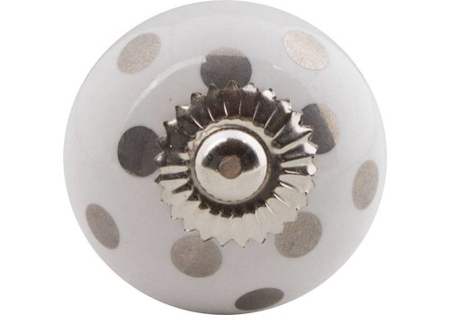 Meubelknop 40 zilveren stippels