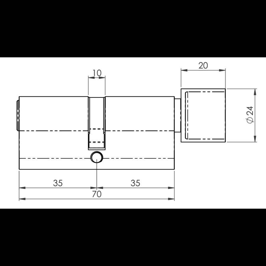 Europrofiel cilinder met draaiknop gelijksluitend zwart