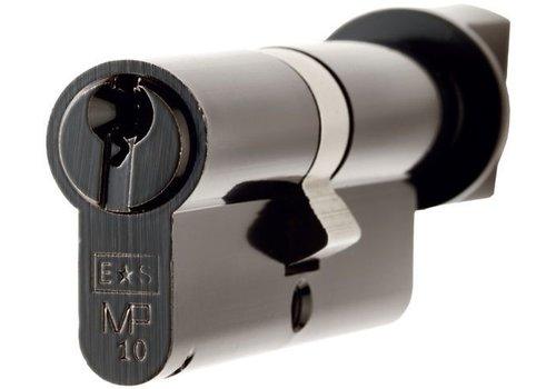 Euro Spec Ongelijke cilinder met draaiknop zwart  gelijksluitend