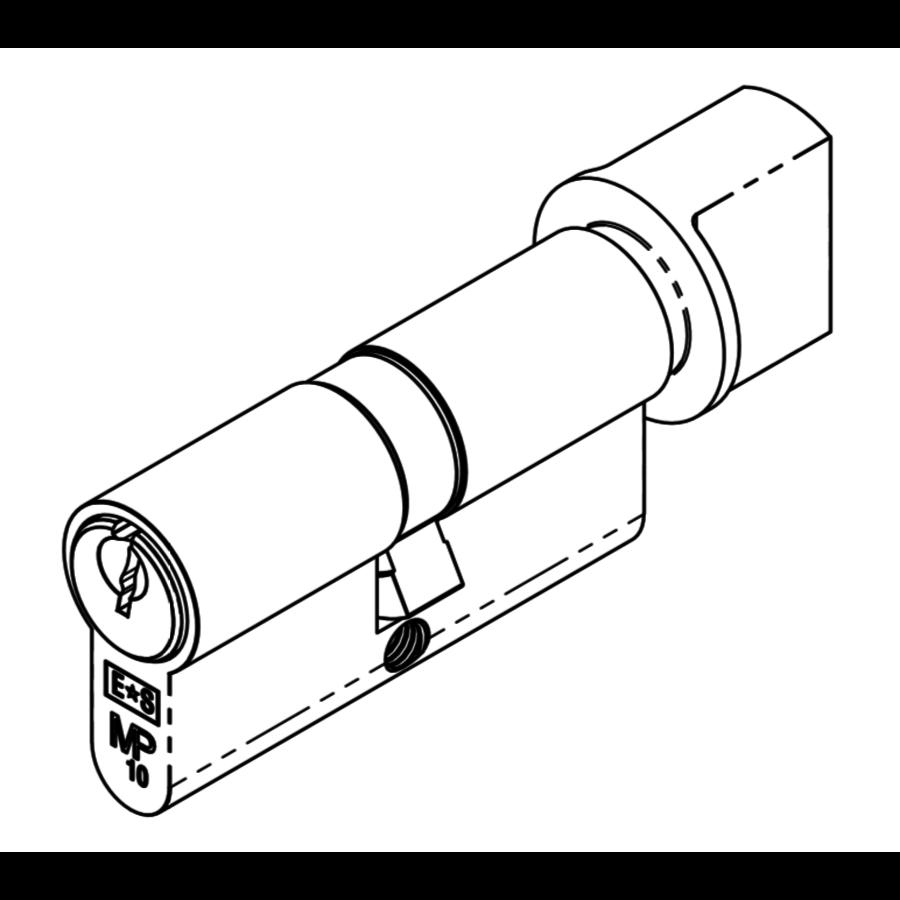 Europrofiel cilinder met draaiknop ongelijk, zwart gecoat