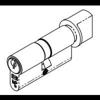 Ongelijke europrofiel cilinder met draaiknop - zwart  gelijksluitend