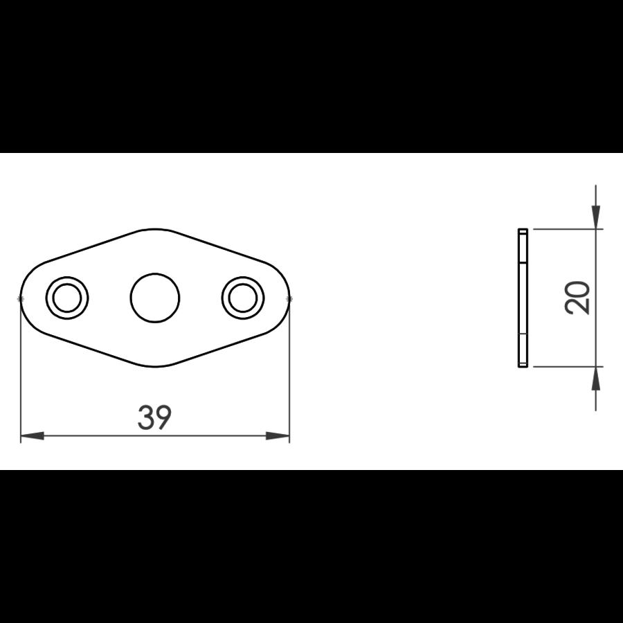 Insteekgrendel met sluitplaat, zwart gelakt 31mm