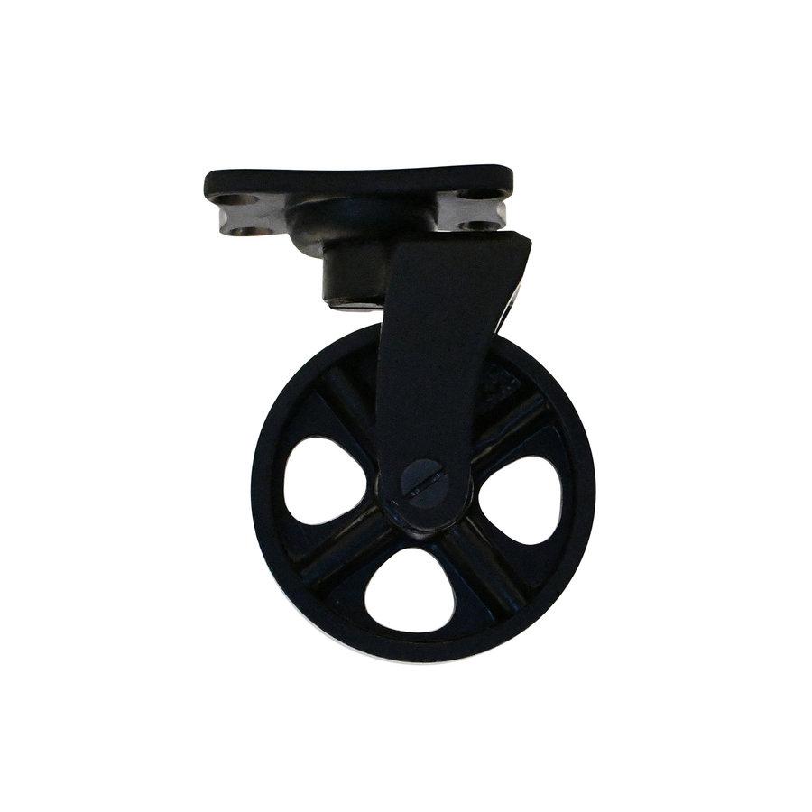 Industrieel wiel van gietijzer - zwart gelakt - klein