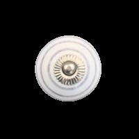 Porseleinen meubelknop wit met paarse strepen