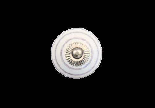 Meubelknop 40mm wit met paarse strepen