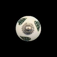 Porseleinen meubelknop wit groen gestippelde hartjes - donker - 30 MM