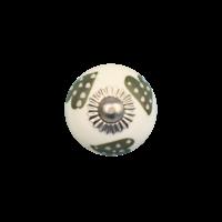 Porseleinen meubelknop wit groen gestippelde hartjes - licht - 30 MM