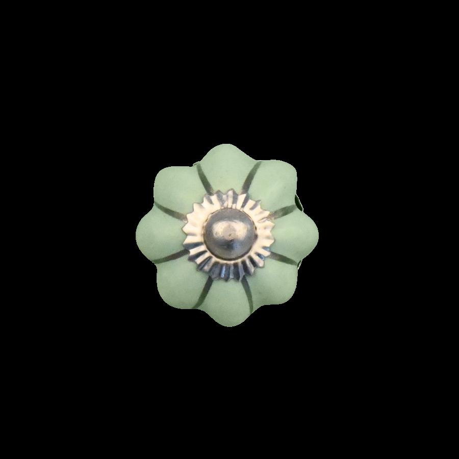 Porseleinen meubelknop groen zilver bloem - 30 MM