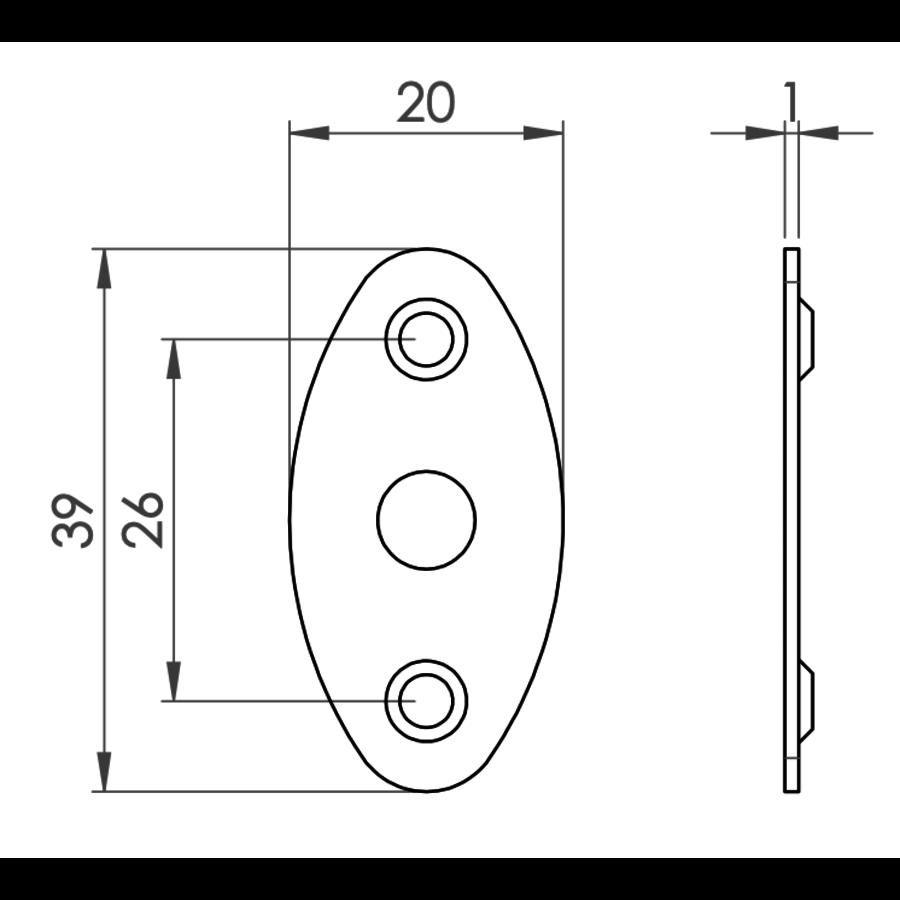 Insteekgrendel met sluitplaat zwart gelakt 36mm