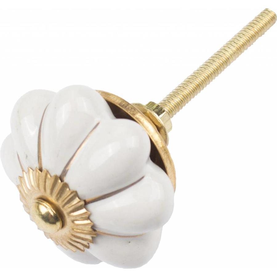 Porseleinen meubelknop wit goud bloem