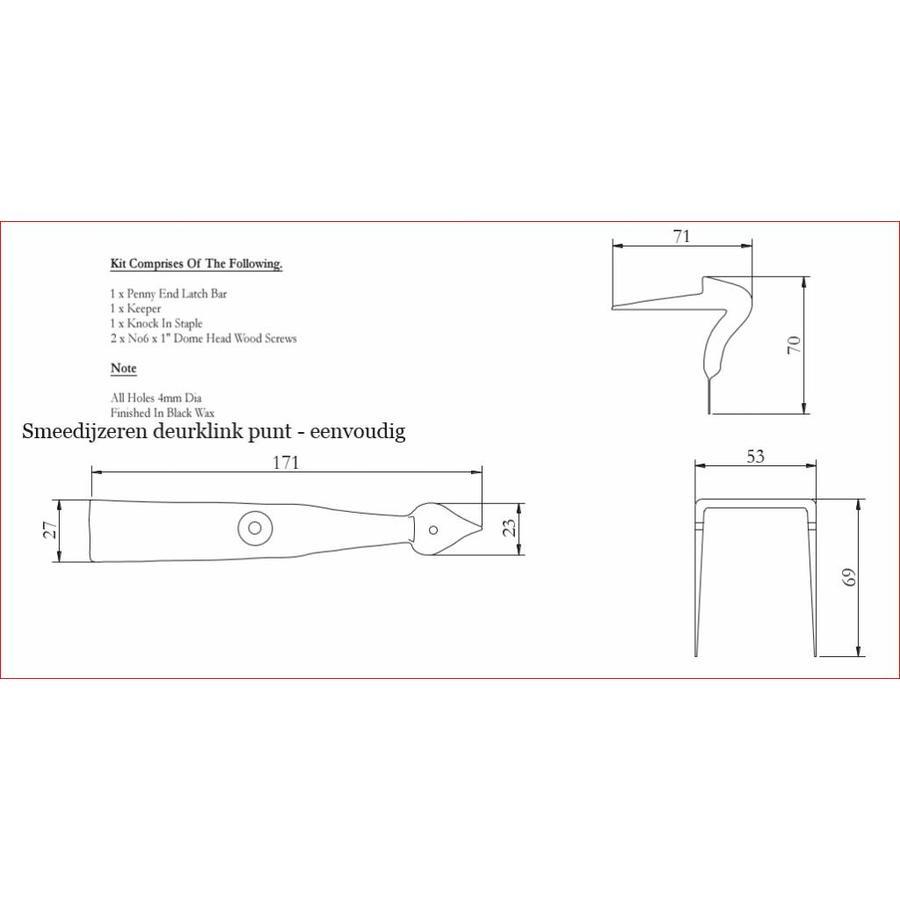 Smeedijzeren deurklink punt - eenvoudig