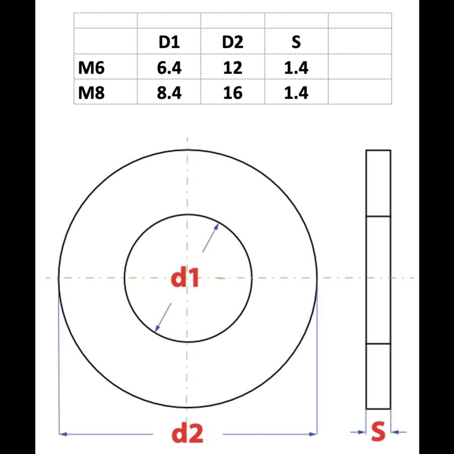 Sluitring Gezwart M6 x 12 x 1.4mm, DIN 125A
