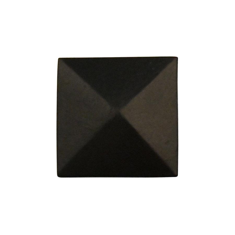 Gietijzeren meubelknop vierkant 36 x 36 mm zwart