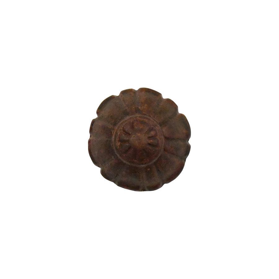 Meubelknop 32 mm model bloem roestig