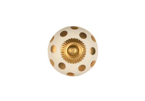 Meubelknop 40mm wit met goudkleurige stippels