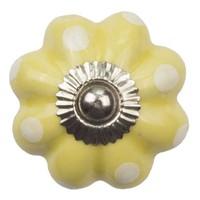 Porseleinen meubelknop bloem geel wit gestippeld