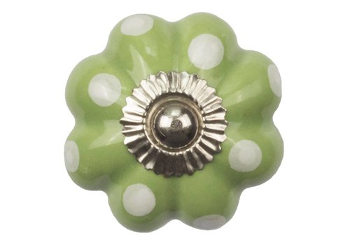 Meubelknop bloem groen wit gestippeld