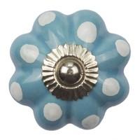 Porseleinen knop bloem blauw wit gestippeld