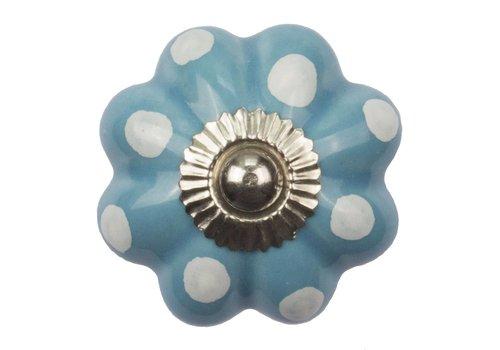 Meubelknop 40mm bloem blauw wit gestippeld