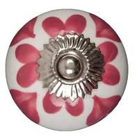 Porseleinen meubelknop wit roze hartjes