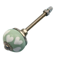Meubelknop 30mm porselein groen met witte hartjes