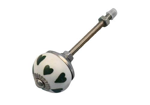 Meubelknop 30mm wit, groene hartjes