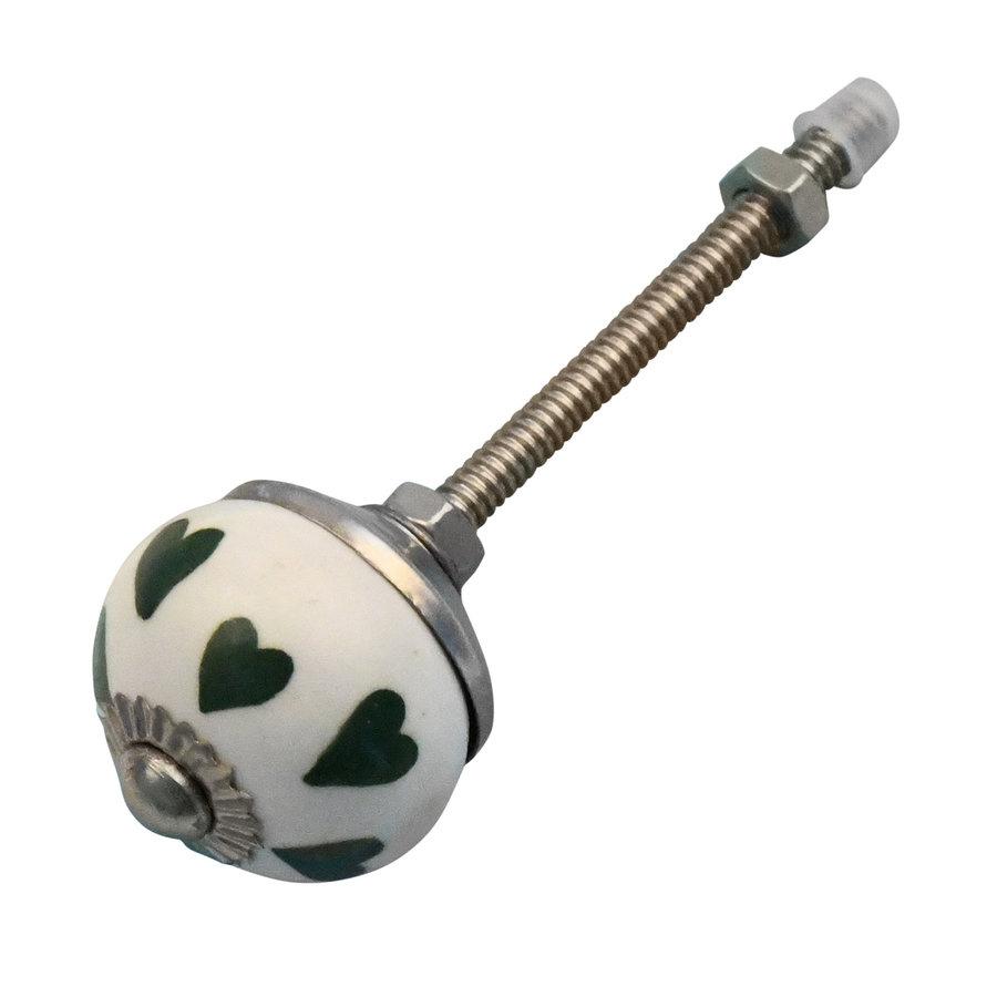 Meubelknop 30mm wit met groene hartjes