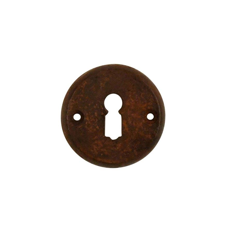 Gietijzeren sleutelrozet 55mm roest voor kastslot.
