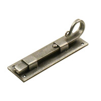 Smeedijzeren deurgrendel 160mm 'Haak' recht - Pewter (tin-effect)