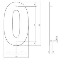 Huisnummer 0 XL 300 mm Rvs / mat zwart