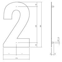Huisnummer 2 XL 300 mm Rvs / mat zwart