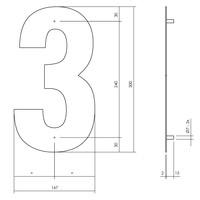 Huisnummer 3 XL 300 mm Rvs / mat zwart