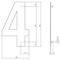Huisnummer 4 XL 300 mm Rvs / mat zwart