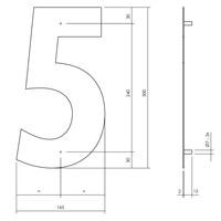 Huisnummer 5 XL 300 mm Rvs / mat zwart
