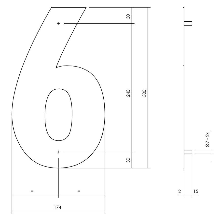 Huisnummer 6 XL 300 mm Rvs / mat zwart