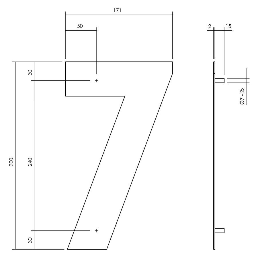Huisnummer 7 XL 300 mm Rvs / mat zwart
