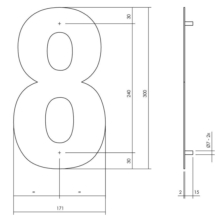 Huisnummer 8 XL 300 mm Rvs / mat zwart