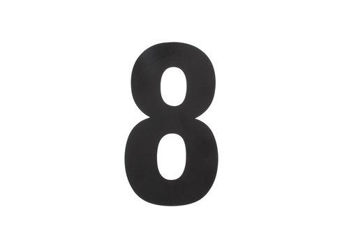 Huisnummer 8 XL 300 mm mat zwart