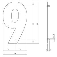 Huisnummer 9 XL 300 mm Rvs / mat zwart