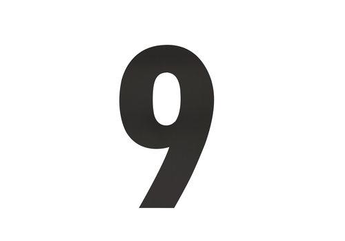Huisnummer 9 XL 300 mm mat zwart