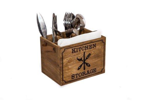 """Bestekbakje hout """"Kitchen storage"""","""