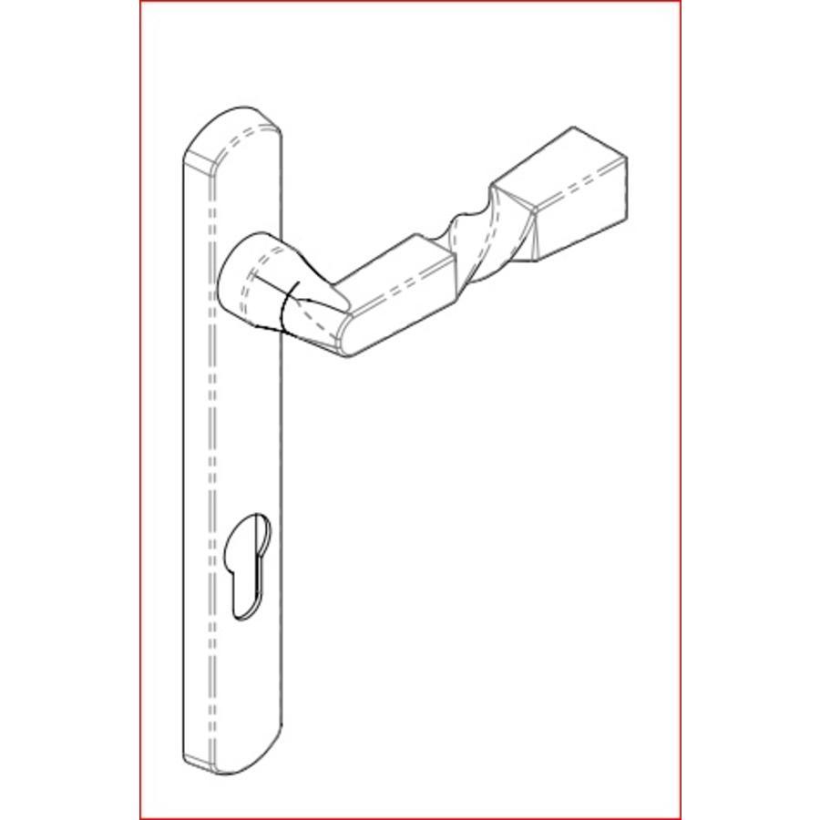 Gietijzeren deurkruk 92mm - eurocilinder.