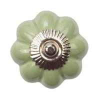 Porseleinen meubelknop bloem groen