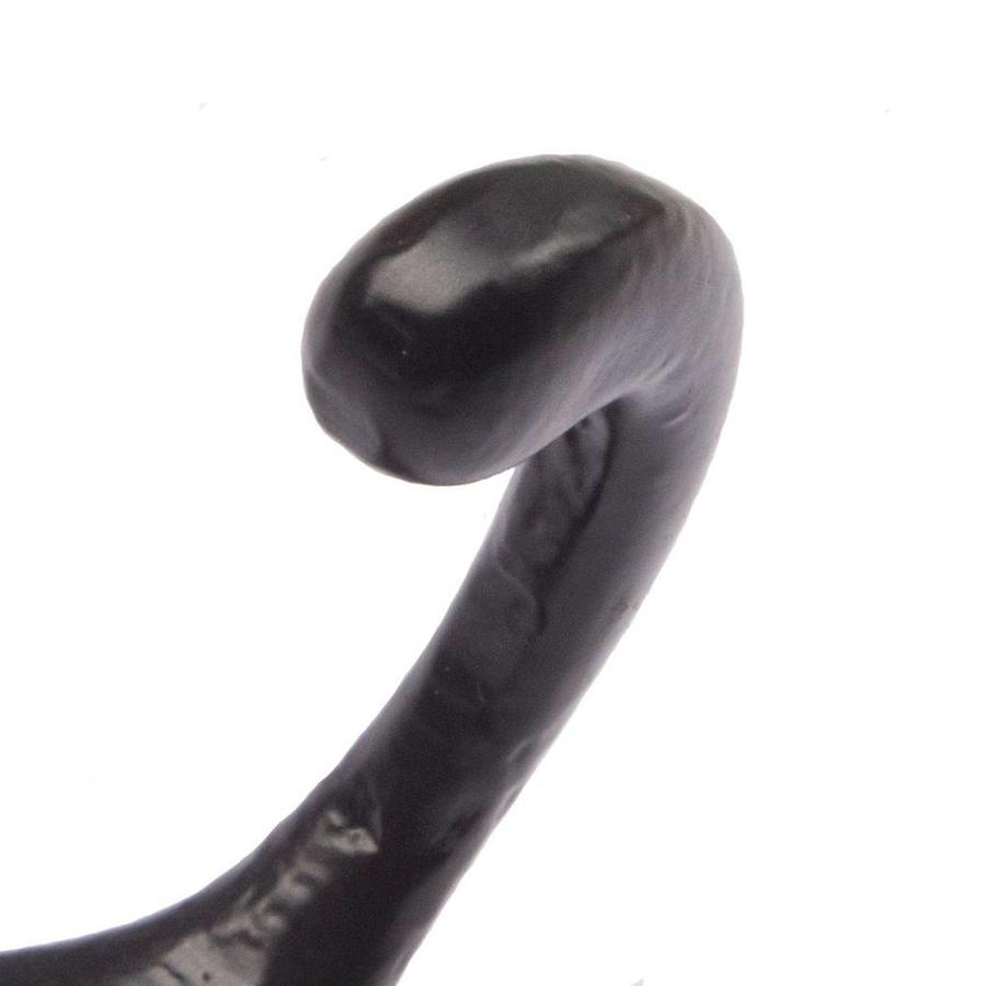 Gietijzeren kapstokhaak recht zwart gelakt