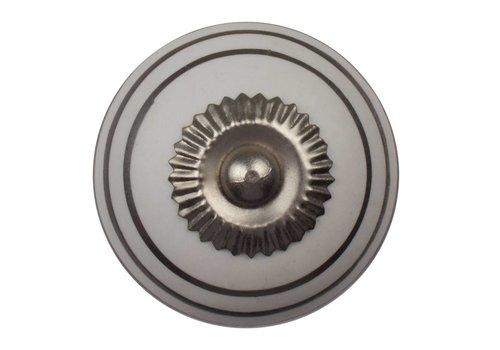 Meubelknop 40mm wit zilver gestreept