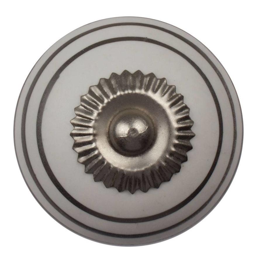 Porseleinen meubelknop wit zilver gestreept