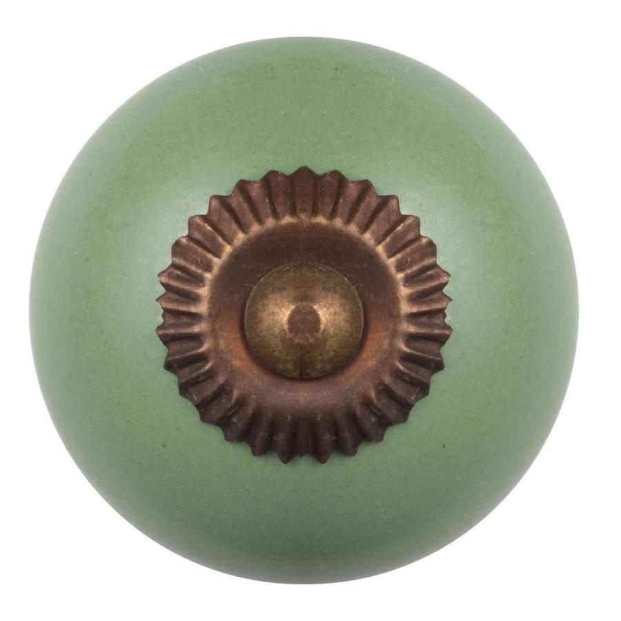 Porseleinen meubelknop groen - brons