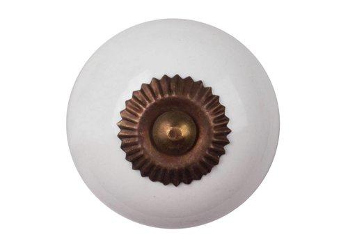 Meubelknop porselein wit - brons