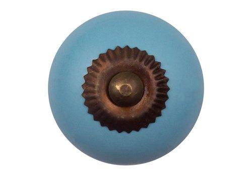 Meubelknop 40mm blauw - brons