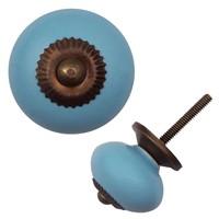 Porseleinen meubelknop blauw - brons